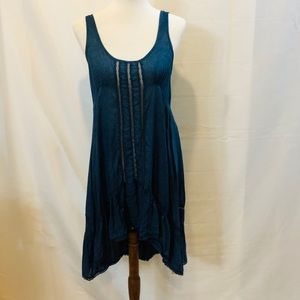 Free people acid wash blue tunic dress